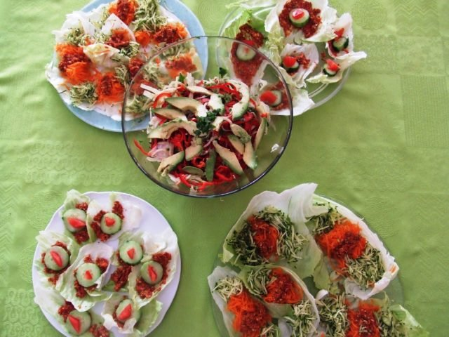 feuilles farcies,salade fenouil