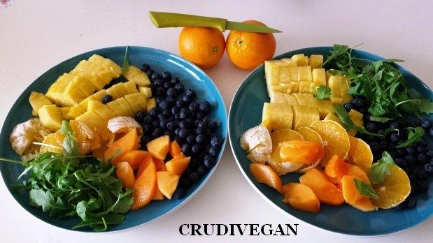 Un repas de fruits et feuilles vertes