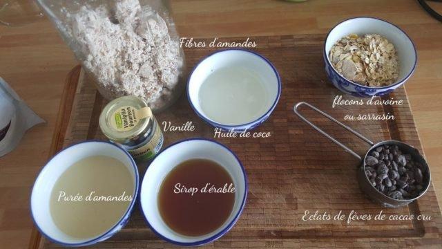 ingrédients petits gâteaux crus
