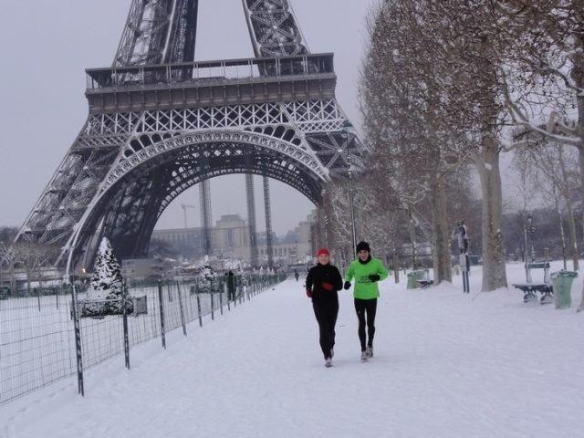 courir sur la neige