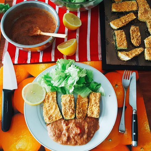 repas cru de courgettes panées