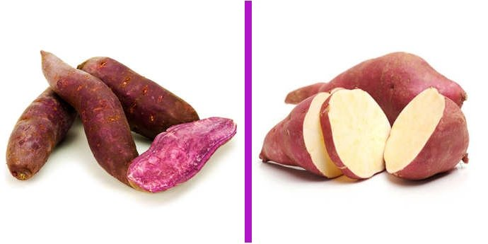 Patate douce violette versus blanche
